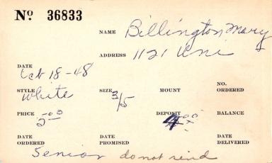 Index card for Mary Billington