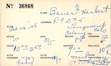 Index card for Herbert Bauer