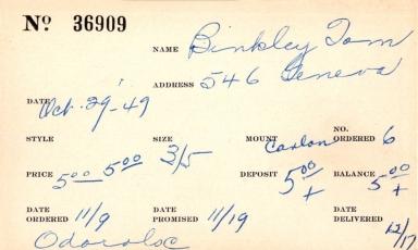 Index card for Tom Binkley
