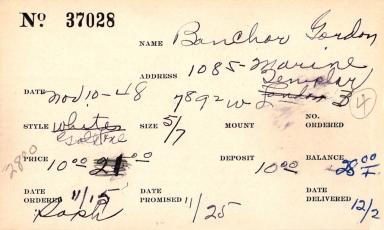 Index card for Gordon Banchor