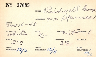 Index card for George Bardwell