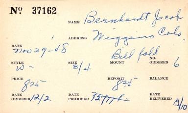 Index card for Jacob Bernhardt