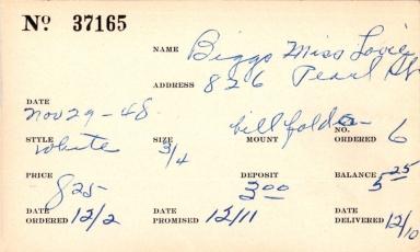 Index card for Lovie Biggs