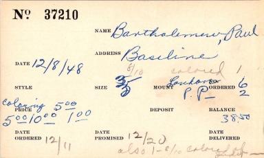 Index card for Paul Bartholemew