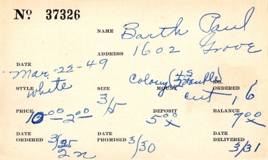 Index card for Paul Barth