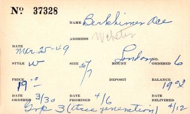 Index card for Ace Berkhimer