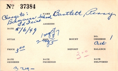 Index card for Perry Bartlett