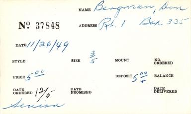 Index card for Don Bergman