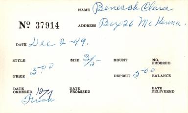 Index card for Clara Benesch