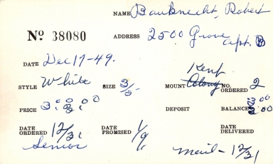Index card for Robert Bauknecht