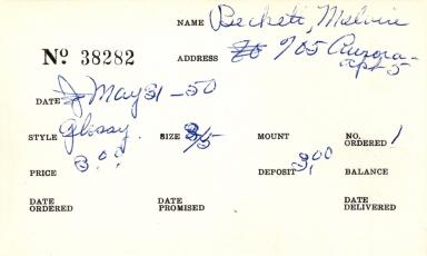 Index card for Melvin Beckett