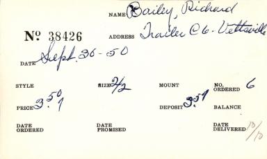 Index card for Richard Bailey