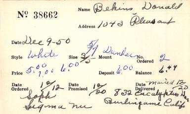 Index card for Donald Bekins
