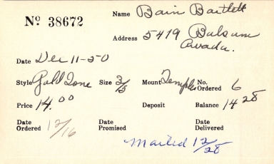 Index card for Bartlett Bain