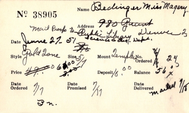 Index card for Magery [sic] Bedinger