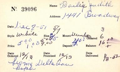 Index card for Judith Bailie