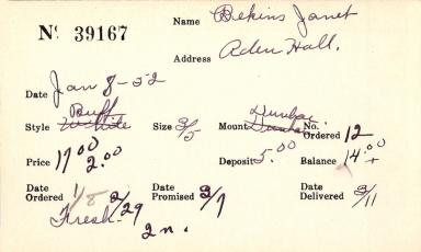 Index card for Janet Bekins