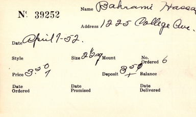 Index card for Hassa[n?] Bahrami