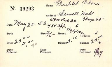 Index card for Clara Bechtel