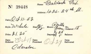 Index card for Pat Baldock