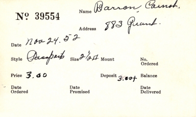 Index card for Carnot Barron