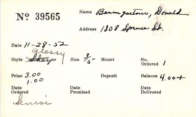 Index card for Donald Baumgartner