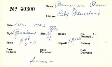 Index card for Ben Bernzen