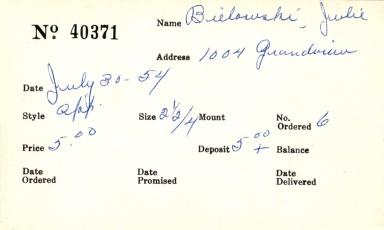 Index card for Julie Bielowshi