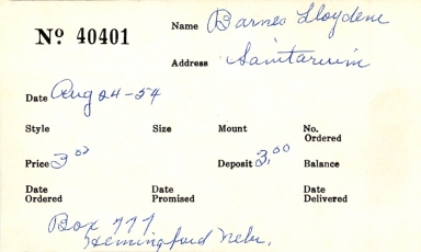 Index card for Lloydene Barnes