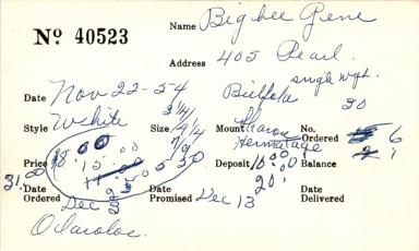 Index card for Gene Bigbee