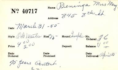 Index card for Mary Beninga