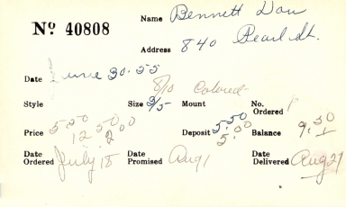Index card for Don Bennett
