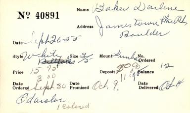 Index card for Darlene Baker