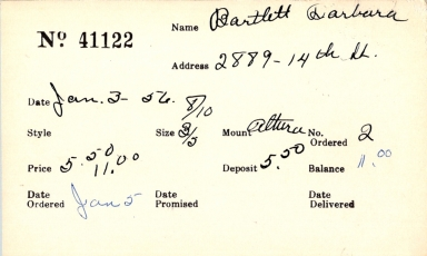 Index card for Barbara Bartlett
