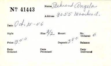 Index card for Angela Behrent