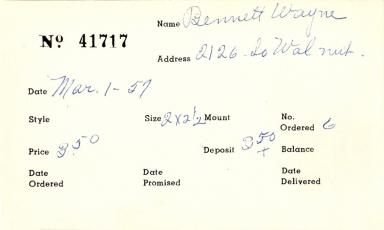 Index card for Wayne Bennett