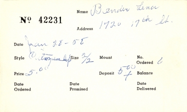 Index card for Lena Bender