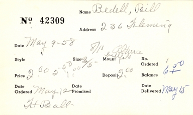 Index card for Bill Bedell