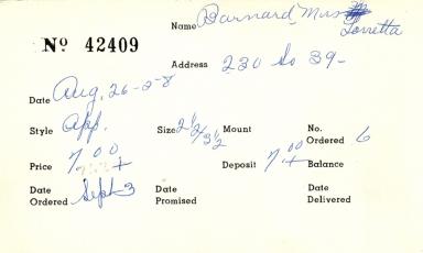 Index card for Lorretta Barnard