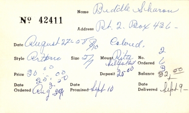 Index card for Sharon Biddle