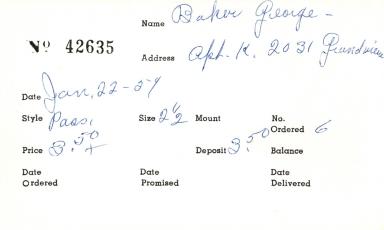 Index card for George Baker