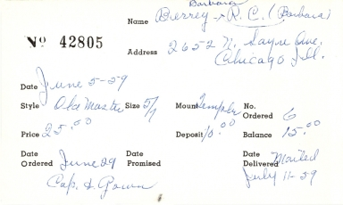 "Index card for R. C. ""Barbara"" Berrey"