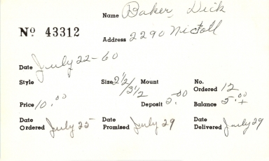 Index card for Dick Baker