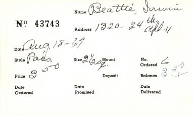 Index card for Irwin Beattie