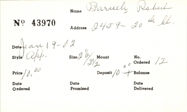 Index card for Robert Baruch