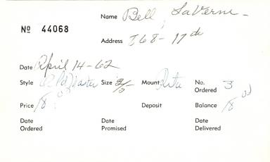 Index card for La Verne Bell