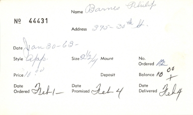 Index card for Philip Barnes