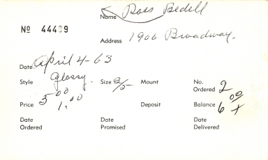 Index card for Ross Bedell