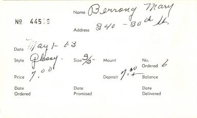 Index card for Mary Berrony