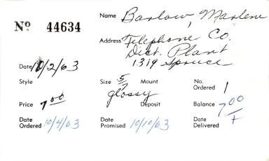 Index card for Marlene Barlow
